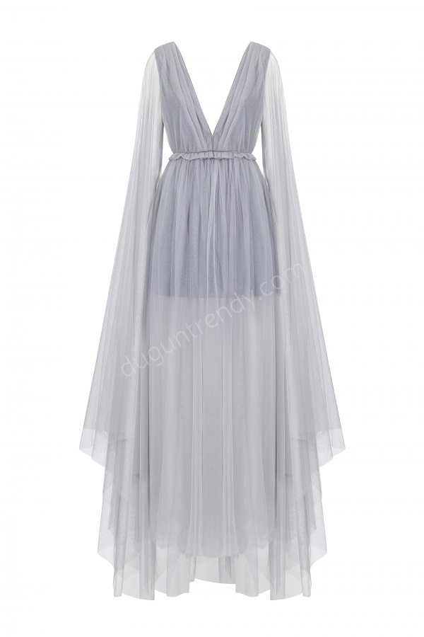 V yaka tül elbise modeli