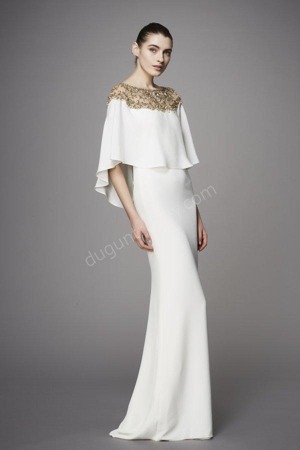 gold desen detaylı elbise modeli