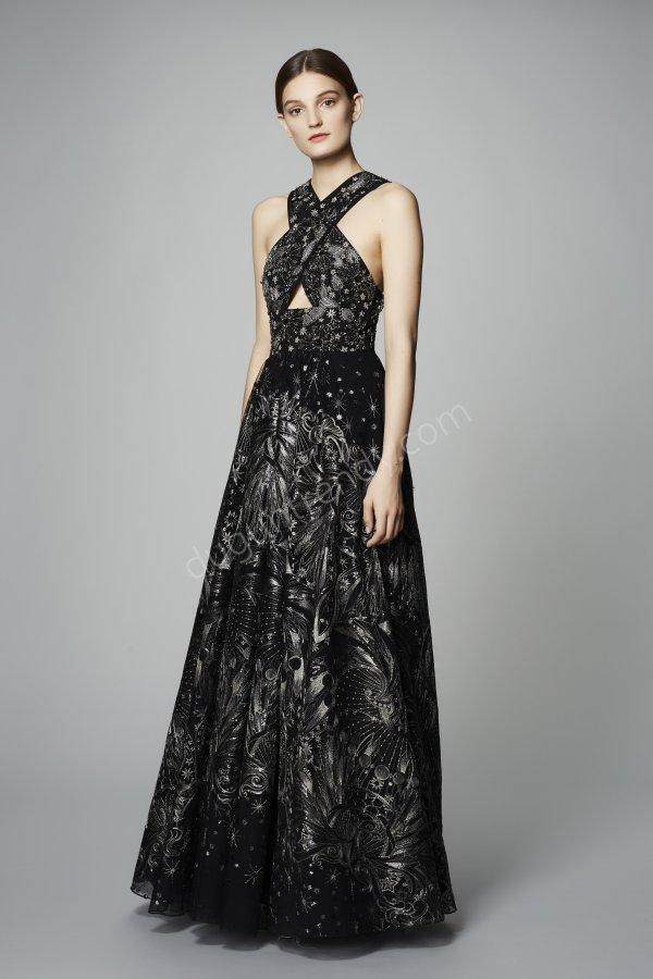 çapraz detaylı parmak kumaş elbise modeli