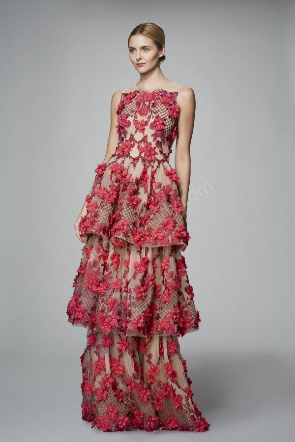 çiçek desenli tül ve transparan detaylı elbise modeli