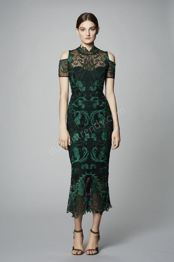 dantel motifli elbise modeli