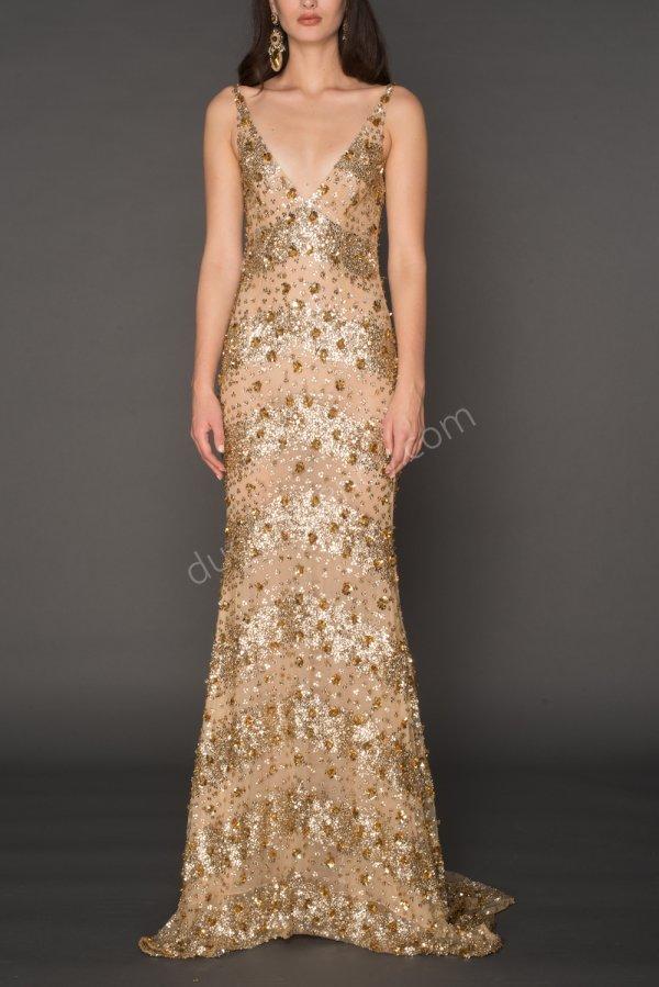 parlak ve piliseli kumaş V yaka elbise modeli