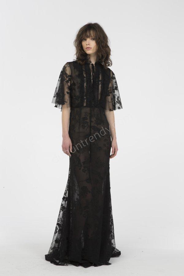 tül transparan detaylı elbise modeli