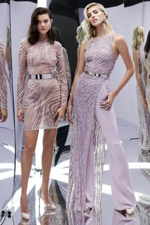 transparan tül detaylı elbise modelleri