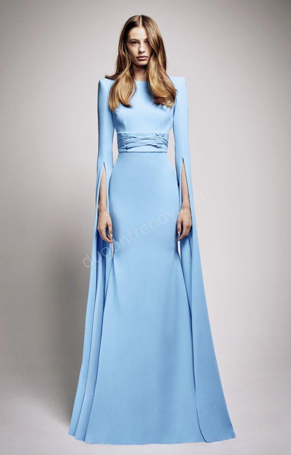 kol detaylı uzun elbise modeli
