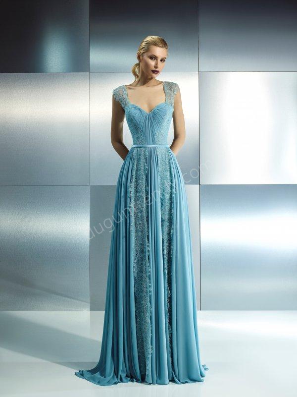 kalın askılı dantel detaylı elbise modeli