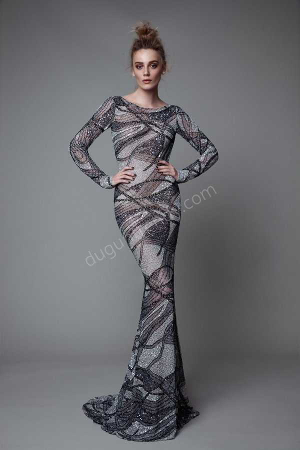 gizli dekolte detaylı elbise modeli