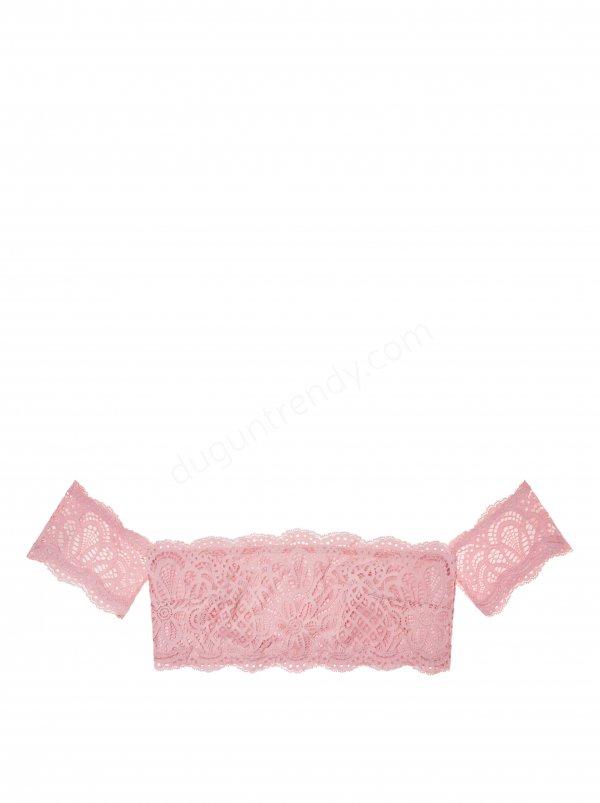 pembe ve dantel detaylı bralet iç çamaşırı modeli