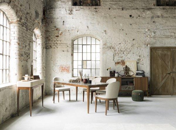 mermer ve ahşap detaylı yemek odası mobilyası modeli