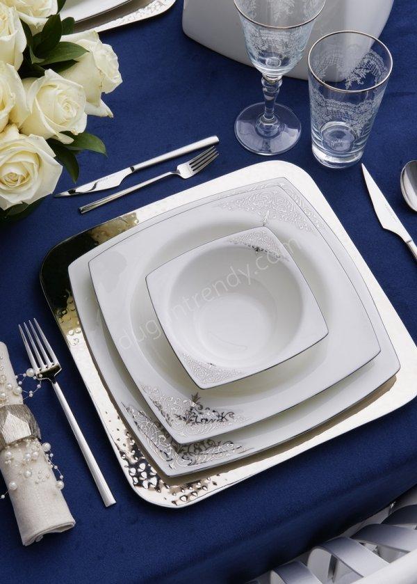 gümüş rengi detaylı yemek takımı modeli