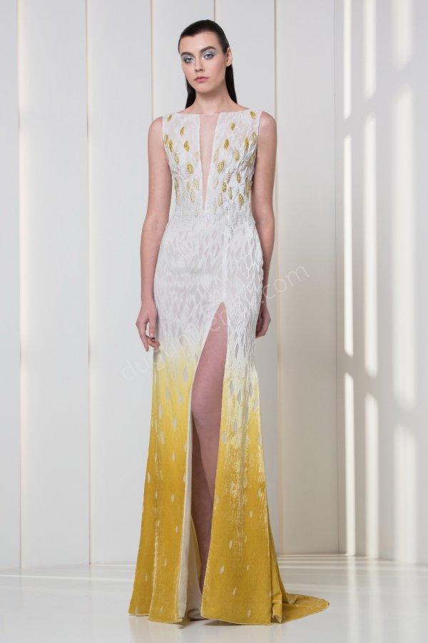 ışıltı detaylı yırtmaçlı elbise modeli