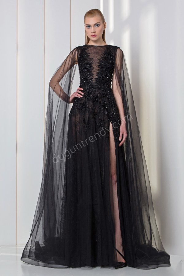 transparan detaylı tül  elbise modeli
