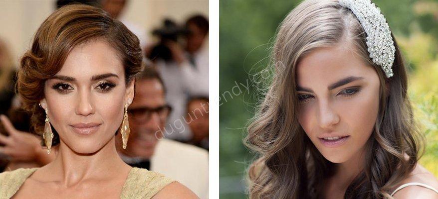 Kare Yüz Tipine Uygun Gelin Saçı Modelleri
